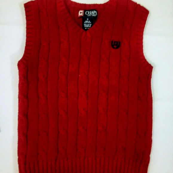 Chaps Other - CHAPS red cable knit boys vest size 7